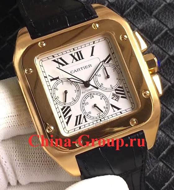 Photos Реплика Cartier Santos 100 XL Gold Chronograph