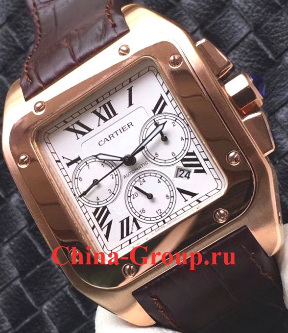 Photos Копия Cartier Santos 100 XL Gold Chronograph W20096Y1